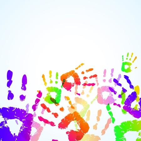 Colorful Hand Prints Background - Vector illustration Ilustrace