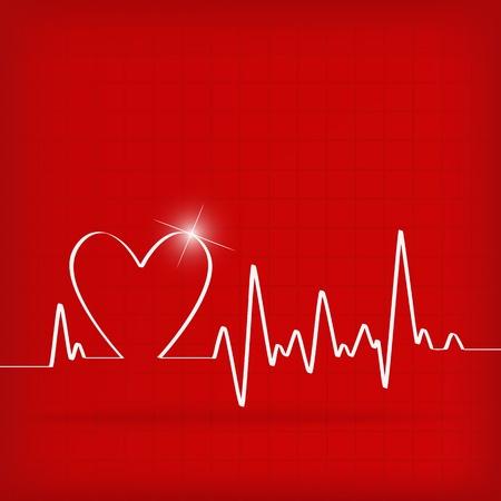 elettrocardiogramma: Cuore Bianco Beats Cardiogram su sfondo rosso - illustrazione vettoriale Vettoriali