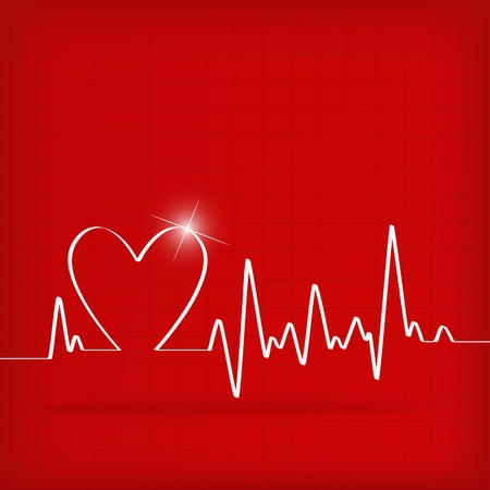 White Heart Beats Cardiogram on Red background - vector illustration