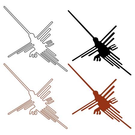 colibries: Establecer líneas de Nazca - ilustración vectorial