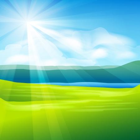 prato e cielo: astratto paesaggio estivo - illustrazione vettoriale