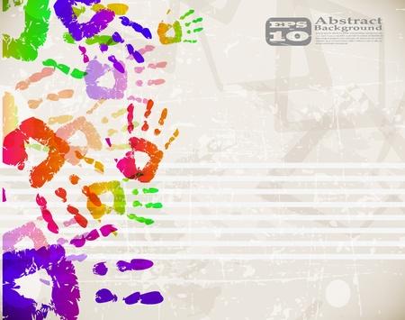 Retro Abstract Design Colorful Handprint Template - vector illustration Stock Vector - 12201915