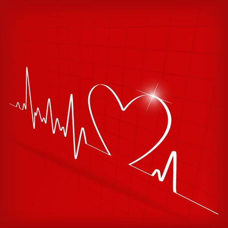 ecg: White Heart Beats Cardiogram on Red background - vector illustration