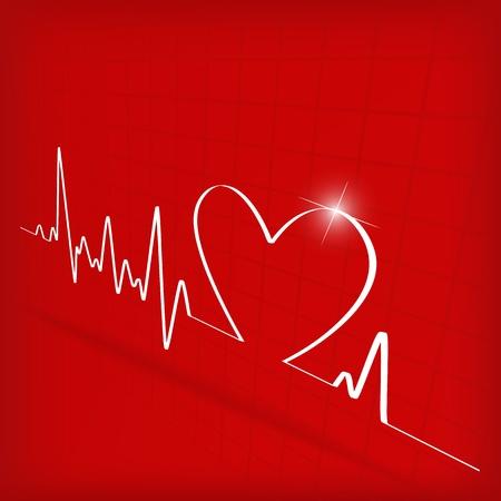 latidos del coraz�n: White Heart Beats Cardiograma sobre fondo rojo - ilustraci�n vectorial Vectores