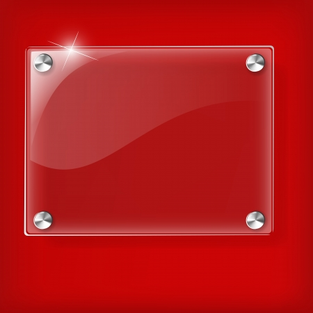 banner effect: Glass plate on Red background - Vector Illustration