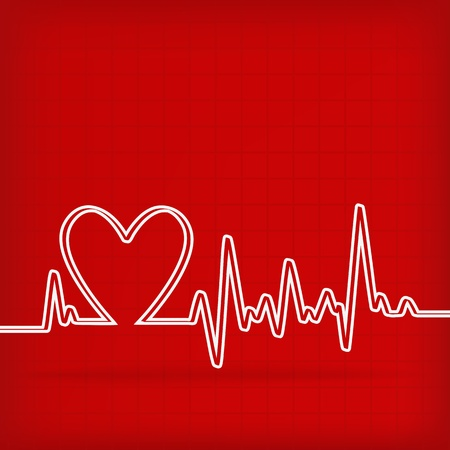 heart rate: White Heart Beats Cardiogram on Red background - vector illustration