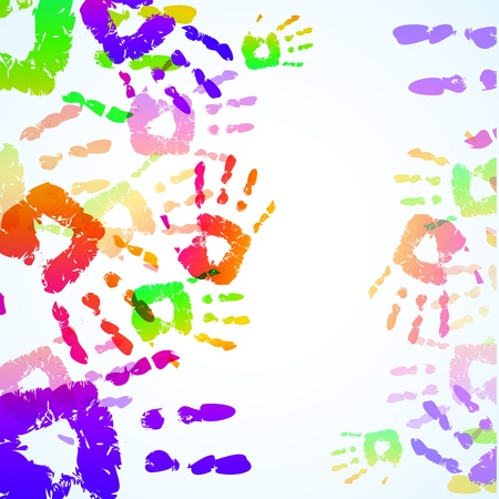 Colorful Hand Prints Background - Vector illustration Stock Vector - 12201903