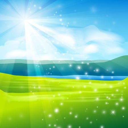 abstract summer landscape background - vector illustration Ilustrace