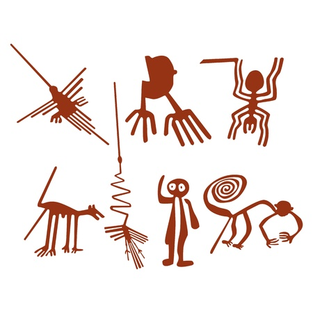 inca: Nazca Lines Set - Vector illustration