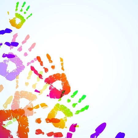 baby hand: Colorful Hand Prints Background - Vector illustration Illustration