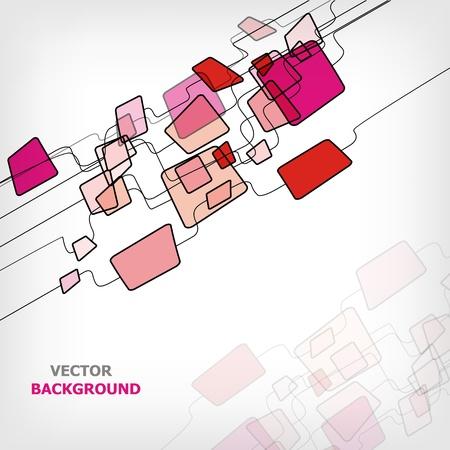Retro Abstract Design Colorful Square Template - vector illustration