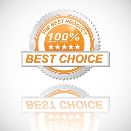 white sticker: Best Choice Golden Label on White Background - Vector Illustration Illustration