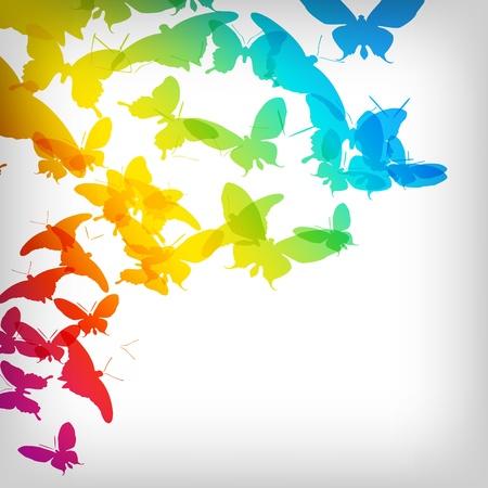 tanzen cartoon: Bunter Hintergrund mit Schmetterling - Vector Illustration