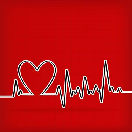 White Heart Beats Cardiogram on Red background - vector illustration Vector