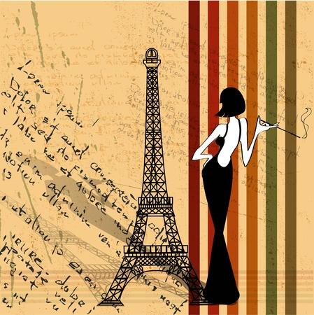 paris vintage: el fondo del grunge del vector retro