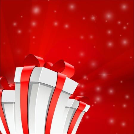 feliz: Illustrazione Vettoriale di tre caselle bianche con un fondo rosso