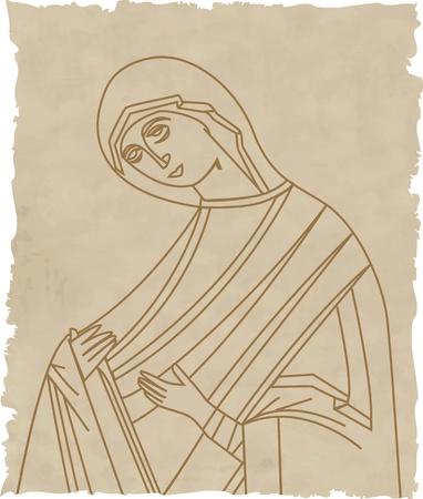 Ilustraci�n vectorial de la Virgen Mar�a en papel viejo