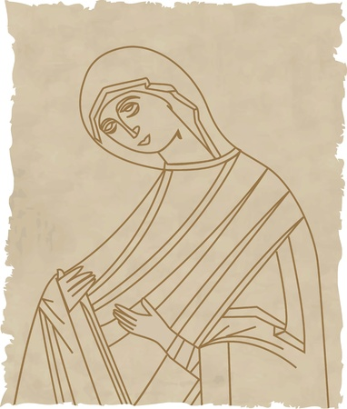 paper sculpture: Vector illustration of Virgin Mary On Old Paper Illustration