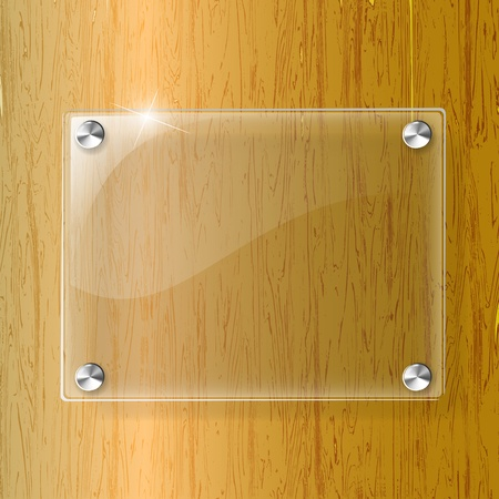 structure metal: Glass plate on Wood background - Vector Illustration