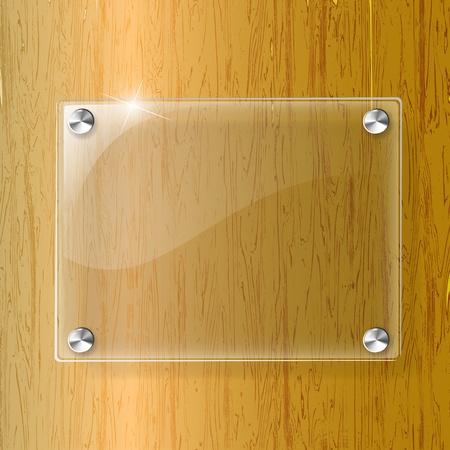 Placa de vidrio en el fondo de madera - ilustración vectorial