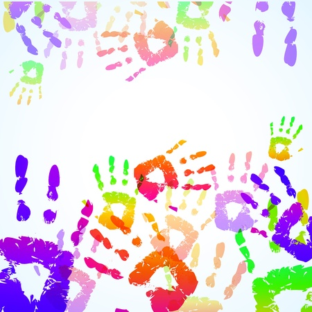 Colorful Hand Prints Background - Vector illustration Illustration