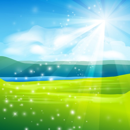 abstract summer landscape background - vector illustration Stock Vector - 12494896