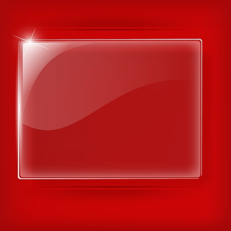 Glass plate on Red background - Vector Illustration Vector
