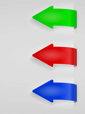 Color Arrows Sticker Set - Vector Illustration Stock Vector - 12496580