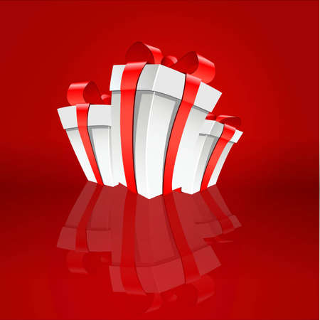 Vector Illustration of Three white boxes with a red background Vector