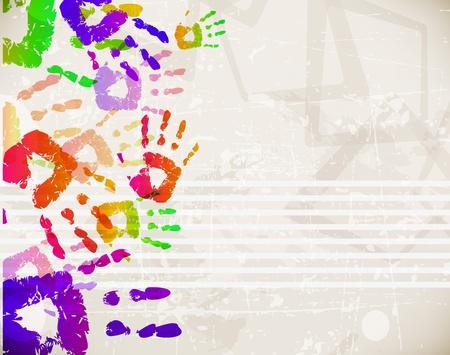 vieze handen: Retro Abstract Design Kleurrijke Handprint Template - vector illustratie Stock Illustratie
