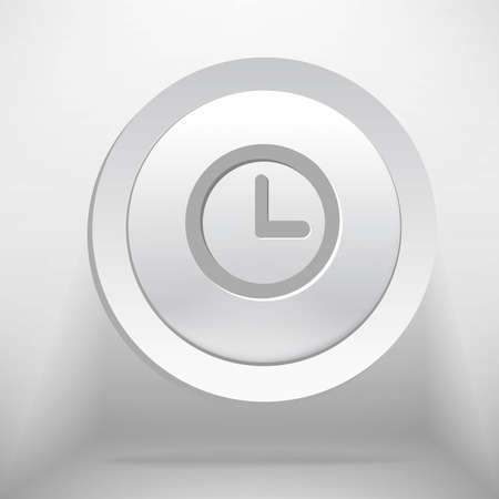 White time or clock button - vector illustration Vector