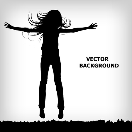 man flying: abstract silhouette girl which jump background - vector illustration