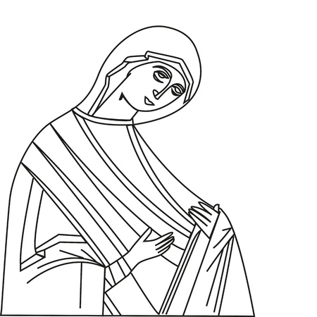 Vector illustration of Virgin Mary On white background