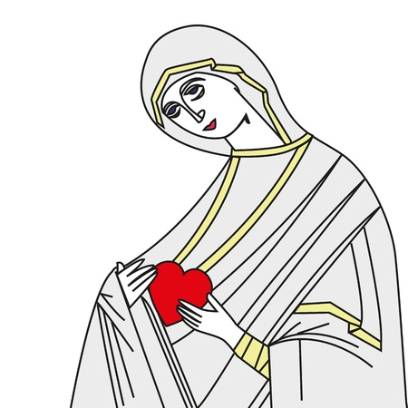 virgin girl: Vector illustration of Virgin Mary On white background