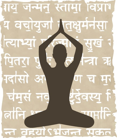 sanskrit: abstract meditating people background - vector illustration