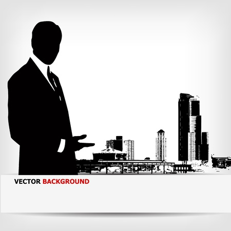 corporate building: abstract businessman silhouette background - vector illustration