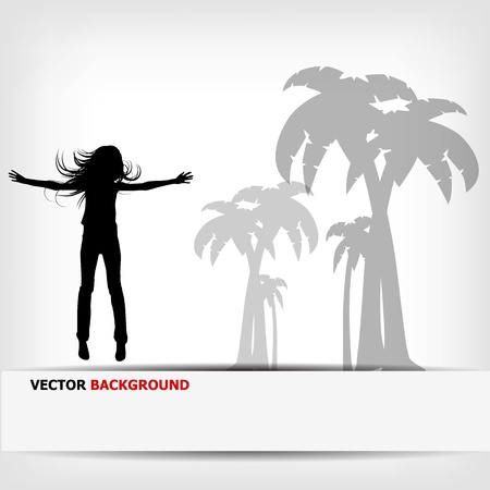 abstract background jump girl silhouette - vector illustration Vector
