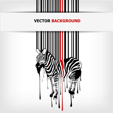 abstract vector zebra silhouette with barcode