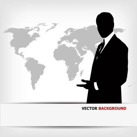 businessman silhouette with world map - vector illustration Stock Vector - 13107405