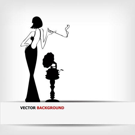black girl smoking: retro girl with old gramophone background - vector illustration
