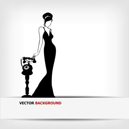 mujer: la cosecha de la silueta retro mujer de fondo, ilustraci�n vectorial Vectores