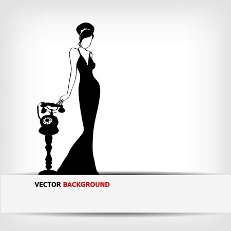girl at phone: the vintage retro woman silhouette background -vector illustration