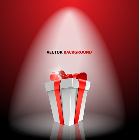 Gift box with red bow on light - vector illustration Stock Vector - 13107464