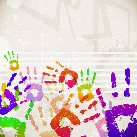 Retro Abstract Design Colorful Handprint Template - vector illustration Vector