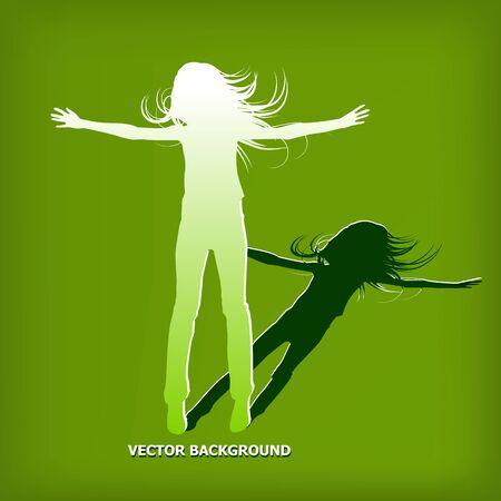 abstract silhouette girl which jump background - vector illustration Stock Vector - 13107401