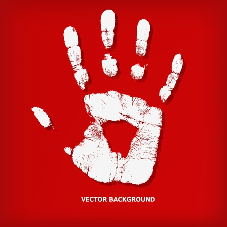 Abstract hand print on a red background - vector illustration Stock Vector - 13107452