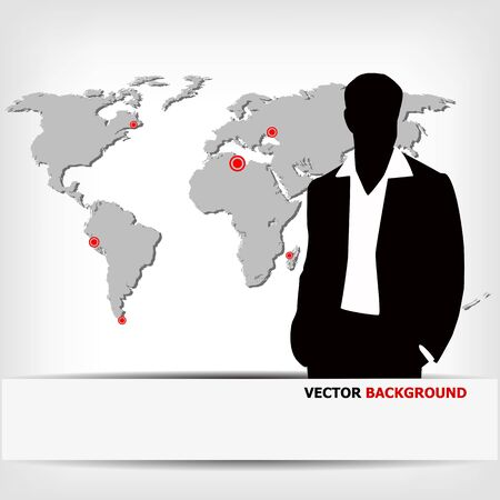 international news: businessman silhouette with world map - vector illustration