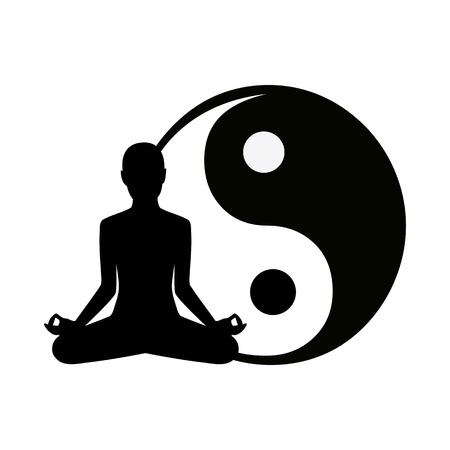 man meditating: abstract yoga background - vector illustration Illustration