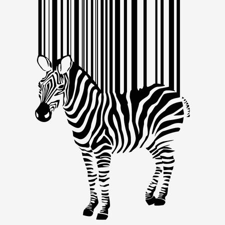 abstract vector silhouette zebra con codice a barre Vettoriali