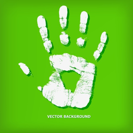 Abstract hand print on a green background - vector illustration Stock Vector - 13450399